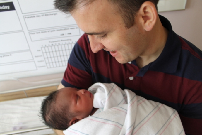 Daddy's first time to meet Micah!
